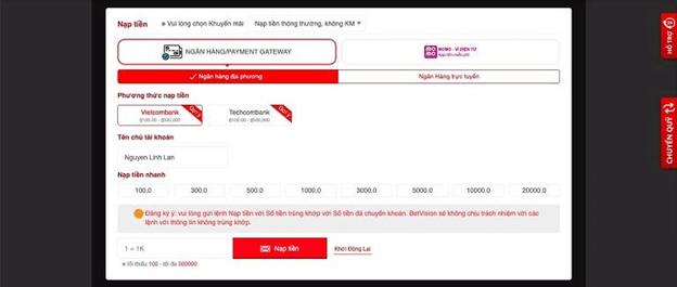 hướng dẫn gửi tiền tại BetVision