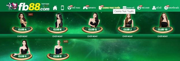 các sòng casino FB88