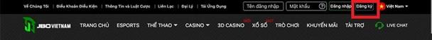 giao diện đăng ký JBO