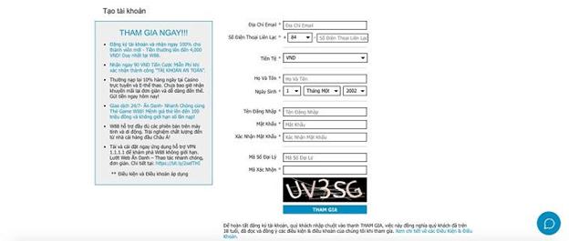 thao tác đăng ký tài khoản W88