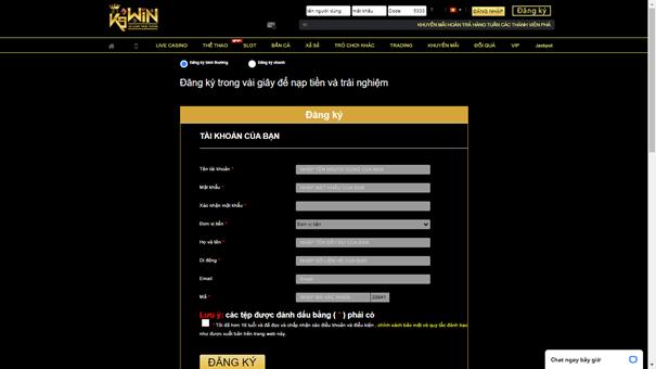 đăng ký tài khoản tại K9WIN
